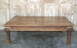 Temple Day Bed Coffee Table in Teak Wood from Hyderabad, circa 1890 <b>SOLD<b>